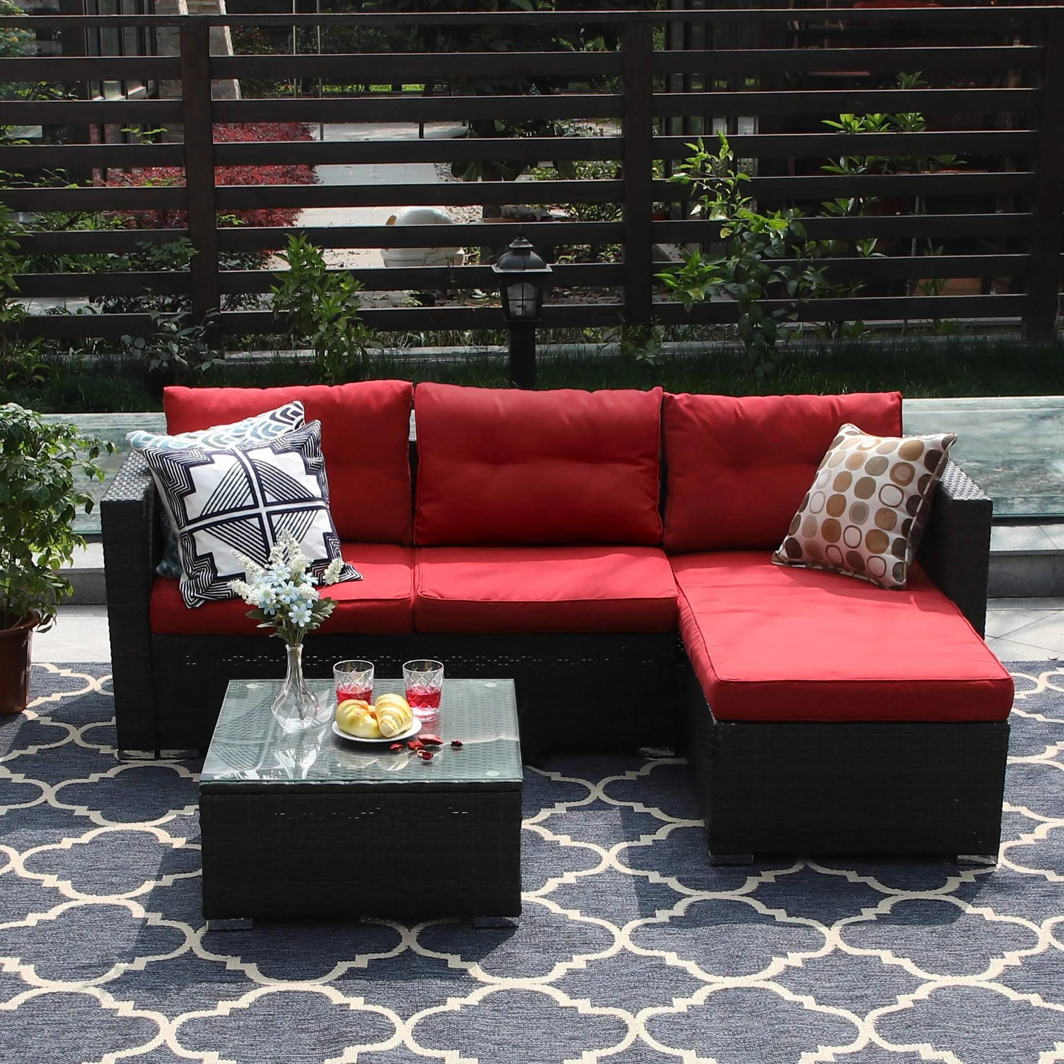 phi villa 3 piece patio furniture set rattan sectional sofa furniture