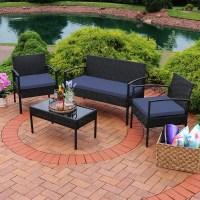 Shop Sunnydaze Anadia 4-Piece Black Rattan Patio Furniture ...