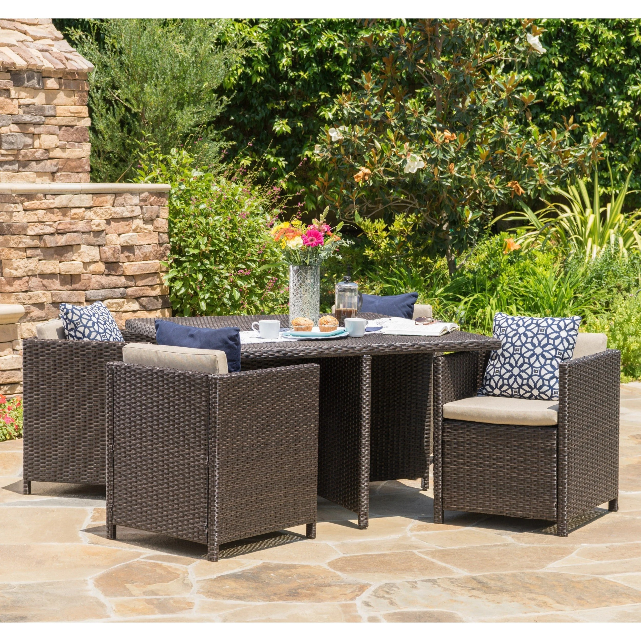 puerta outdoor 5 piece wicker dining set by christopher knight home