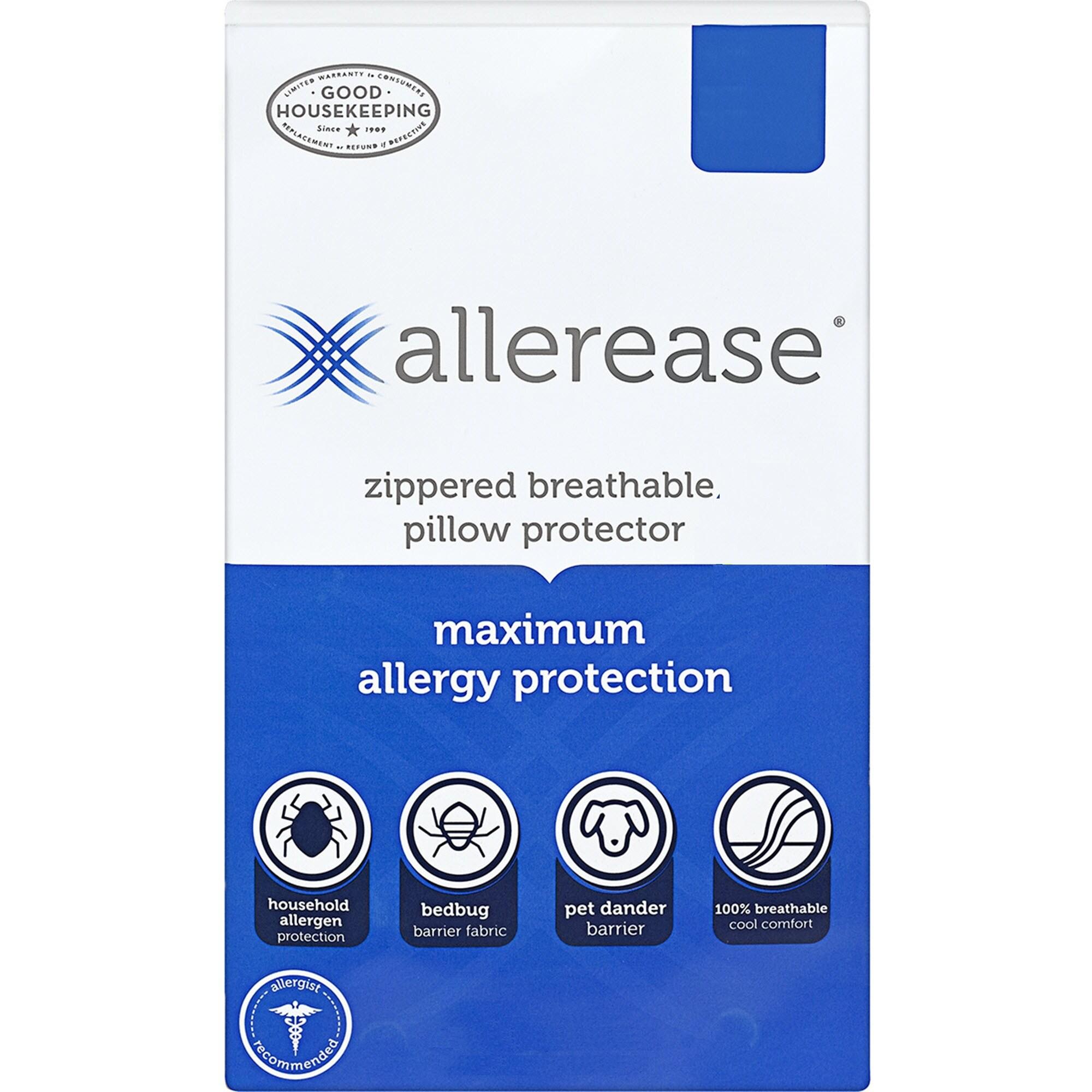 allerease maximum allergy bedbug zippered pillow protector
