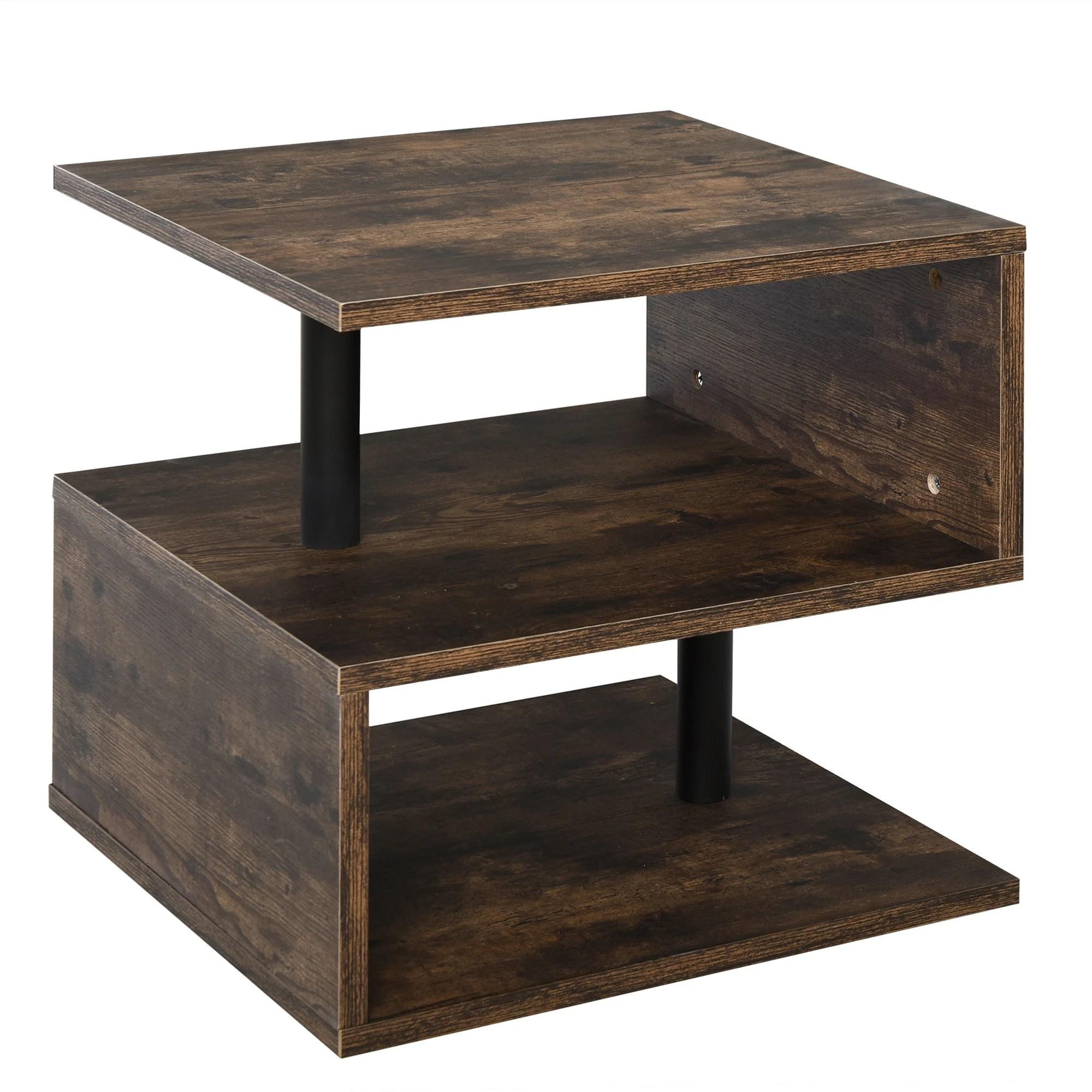 homcom industrial modern 3 tier side table or end desk with unique s shaped design 3 shelves for storage display