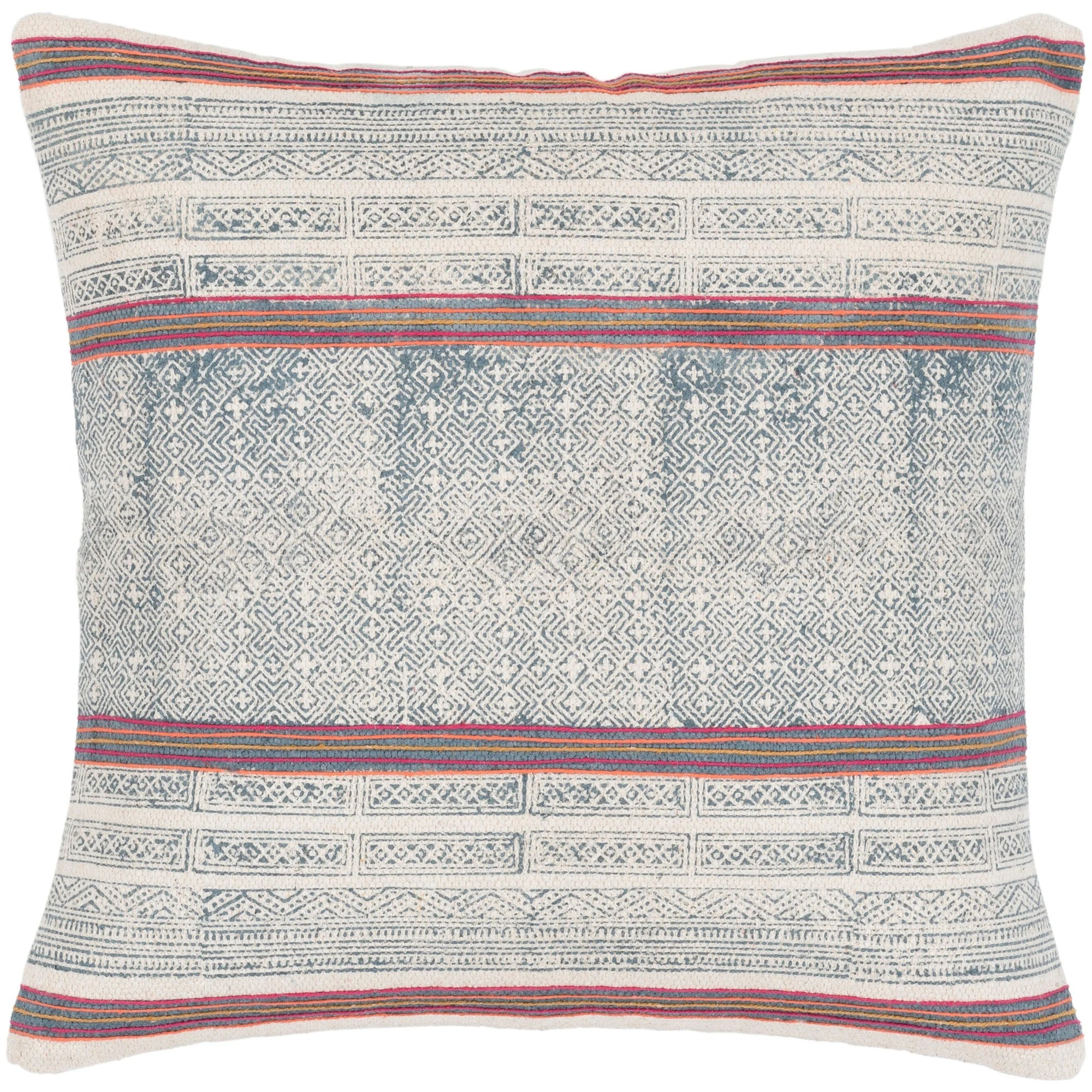 margaret navy pink hand embroidered bohemian throw pillow cover 20 x 20