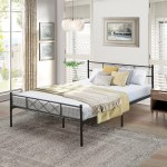 Contemporary Metal Platform Bed Black Metal Bed Frame By Vecelo Twin Full Queen Size Overstock 28380612