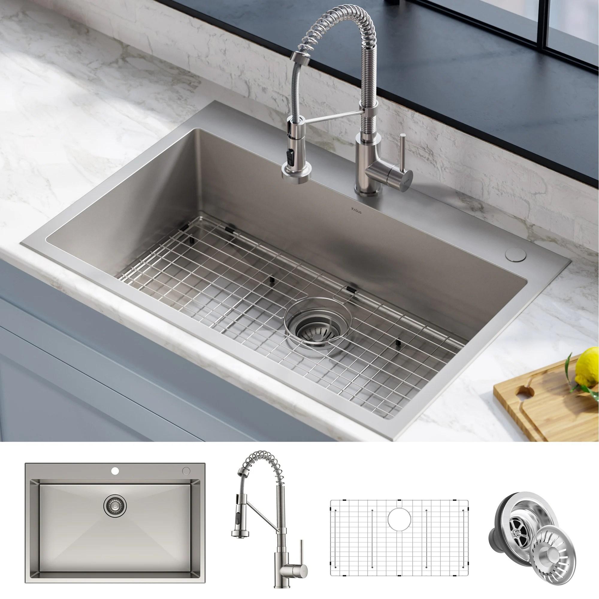 kraus stark 33 inch undermount drop in kitchen sink pulldown faucet combo