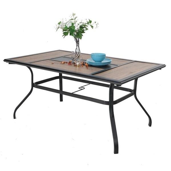 phi villa wood look patio dining table