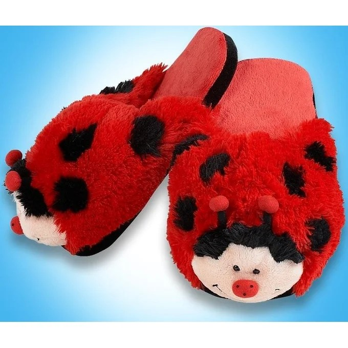 my pillow pets ladybug slippers medium red