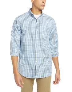 Izod new american blue mens size xl long sleeve button down plaid shirt also shop rh overstock