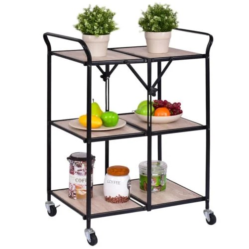 cart for kitchen old fashioned chair step stool shop costway 3 tier folding trolley rolling serving dining storage shelves as pic