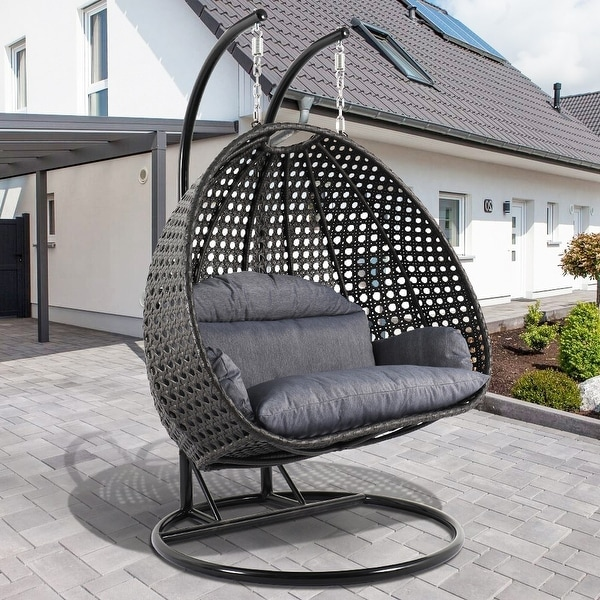 Shop Leisuremod Indoor Outdoor Wicker 2 Person Hanging Swing Chair Overstock 28424662