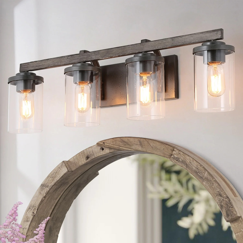 Shop Farmhouse 4 Light Bathroom Vanity Lighting Wall Lights Rustic Wall Sconces Overstock 24095617