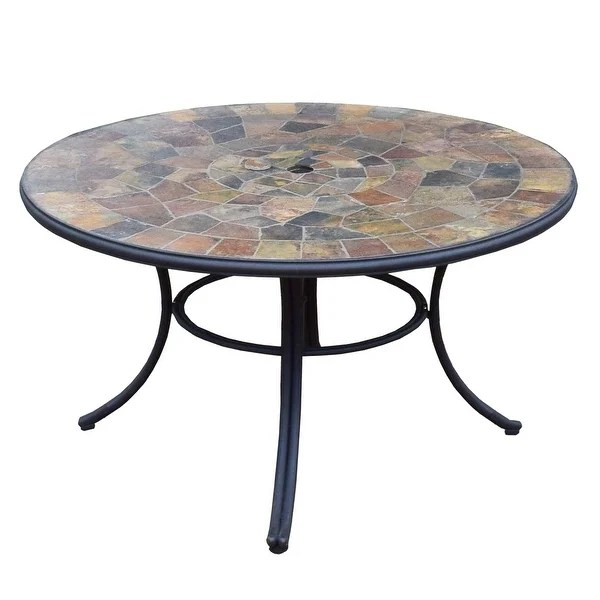 black stone slate round outdoor 42 inch patio deep seating dining table