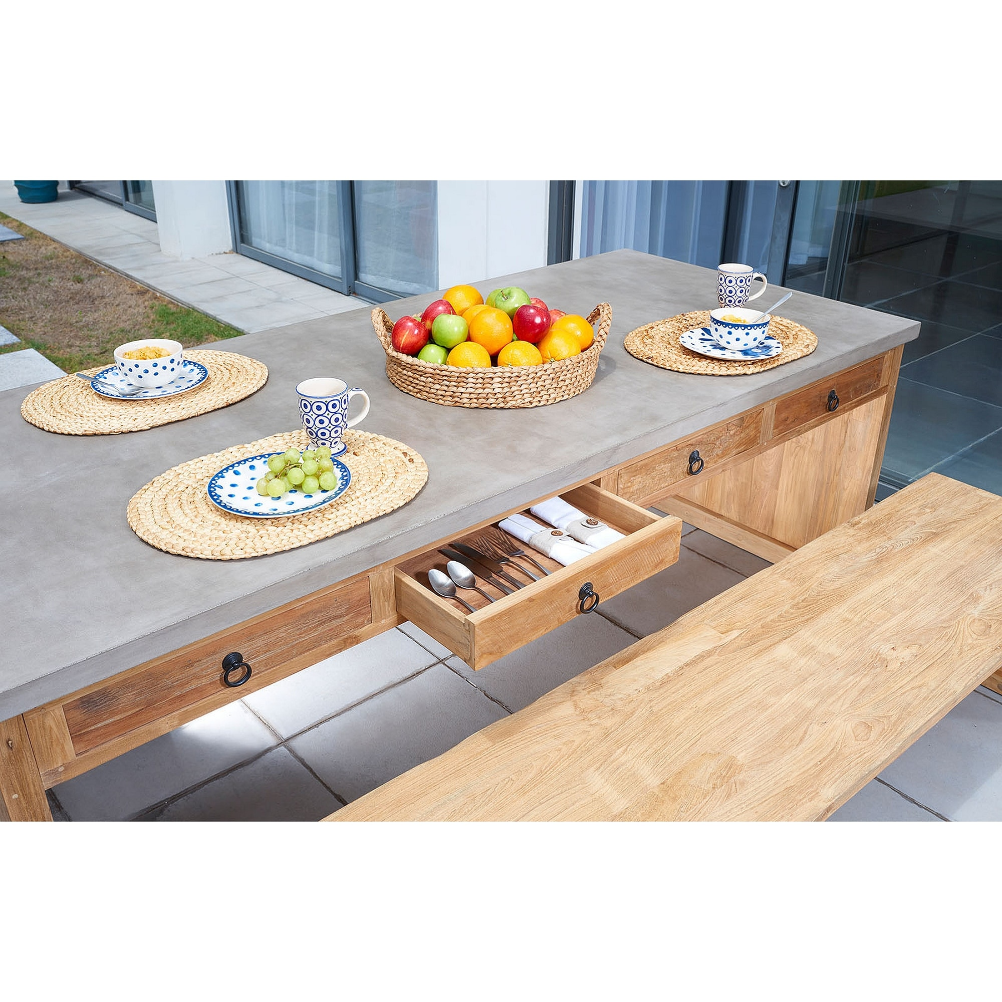 Shop Palmetto Indoor Outdoor Concrete And Teak Dining Table 86 Overstock 28010297