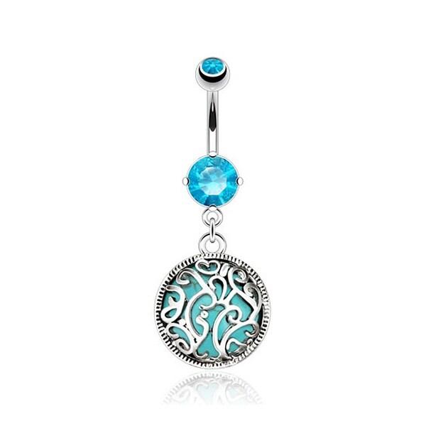 Shop Swirls Medalian with Turquoise Semi Precious Stone