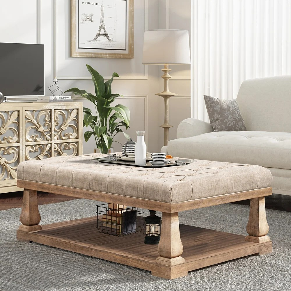 moda upholstered storage bench with wood shelf coffee table