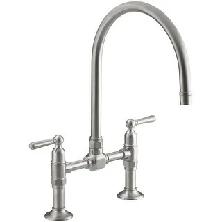 kohler kitchen faucet san diego remodel buy double handle faucets online at overstock com k 7337 4 hirise bridge with metal lever handles