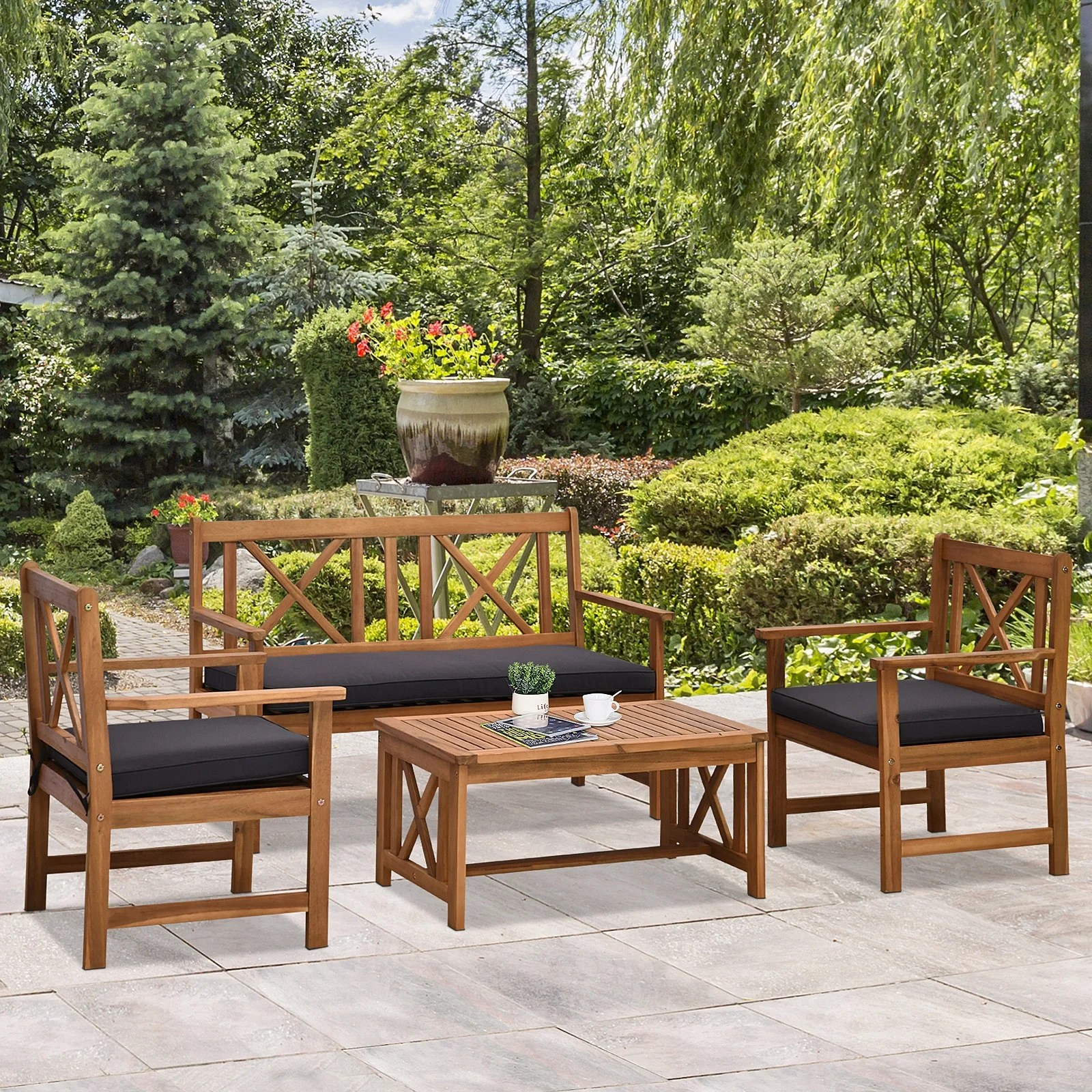 outsunny 4 piece acacia wood outdoor patio furniture set with 2 armchairs 1 sofa 1 coffee table cushions included