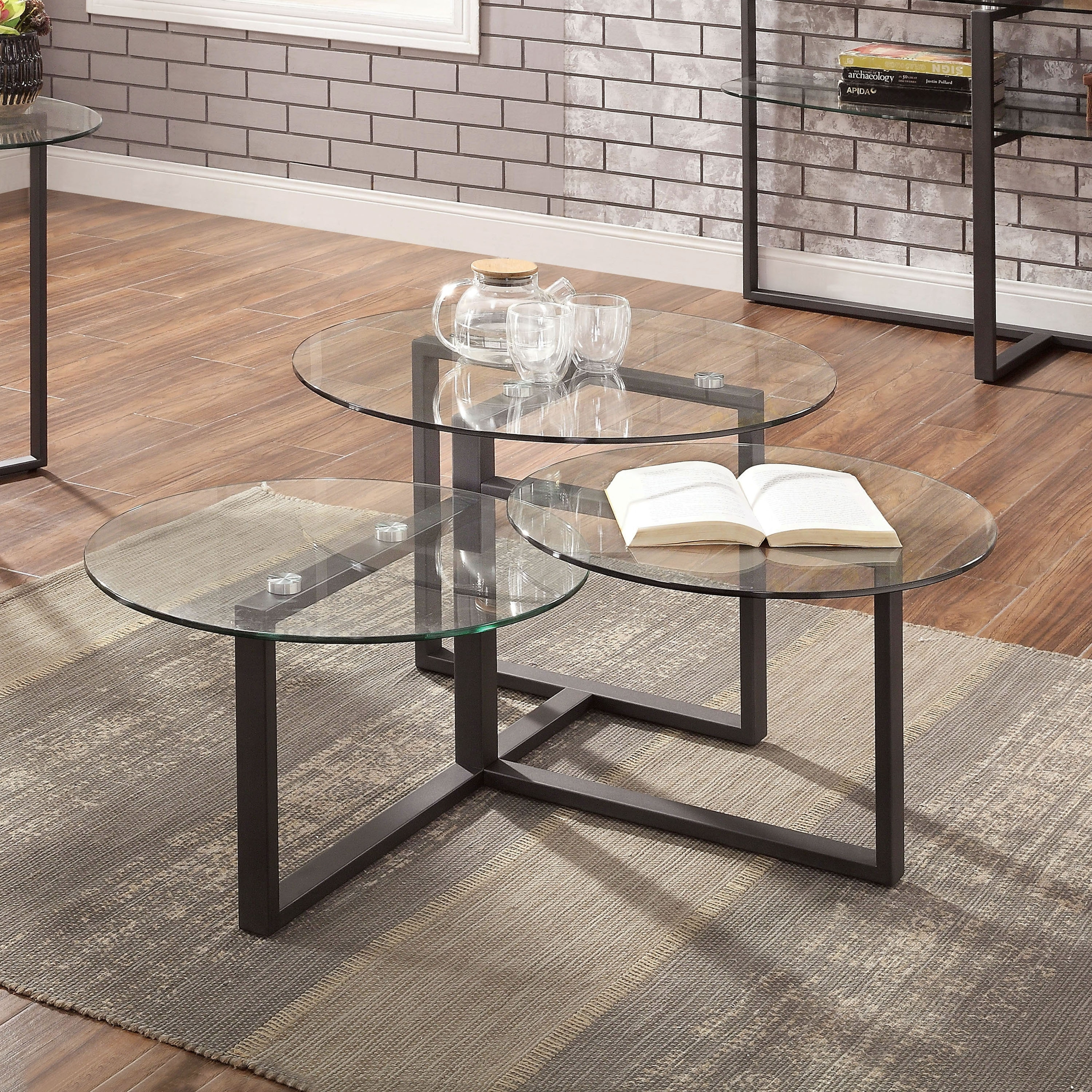 furniture of america jeti contemporary black glass coffee table