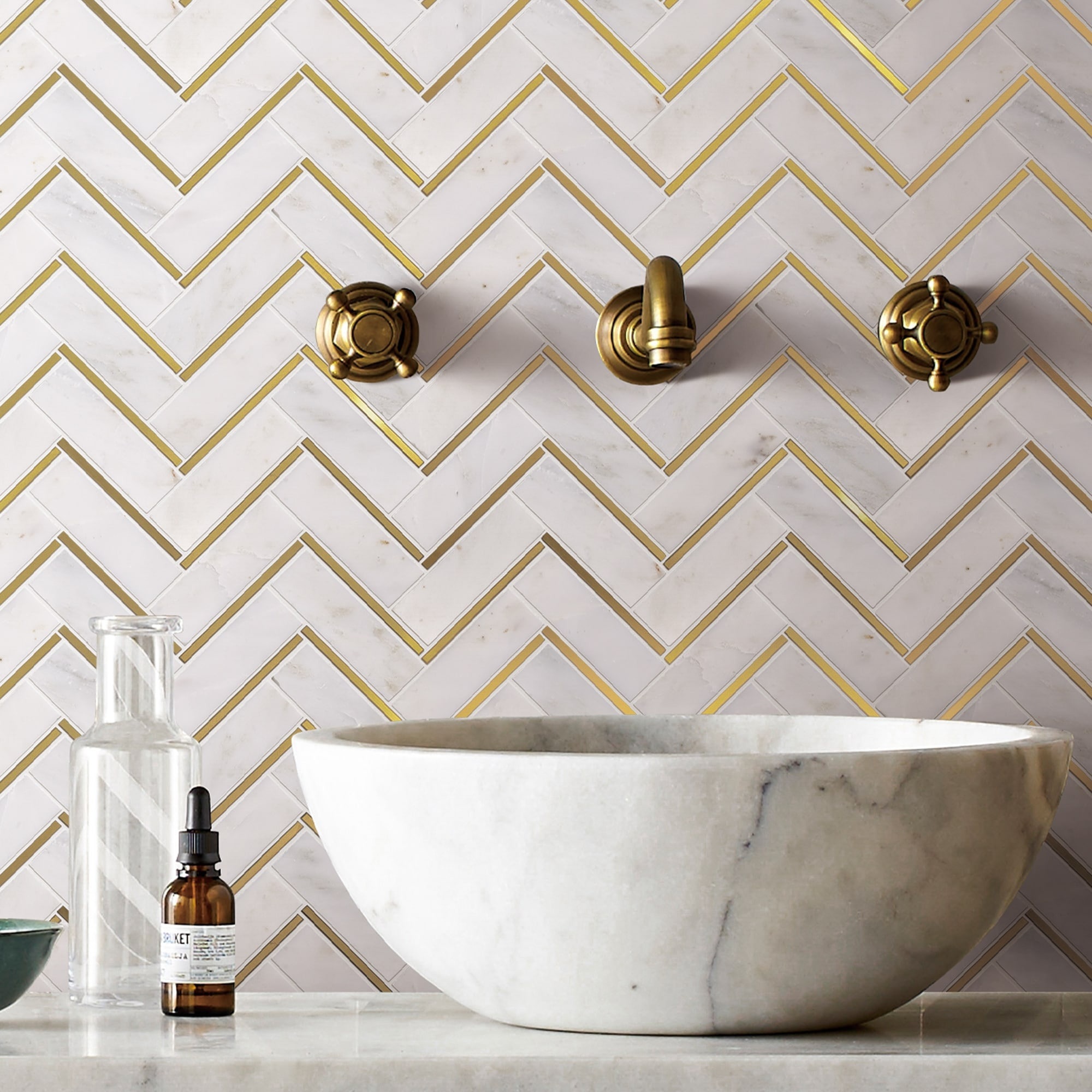 tilegen natural bianco herringbone metal and marble mosaic tile in gold white wall tile 10 sheets 8 5sqft