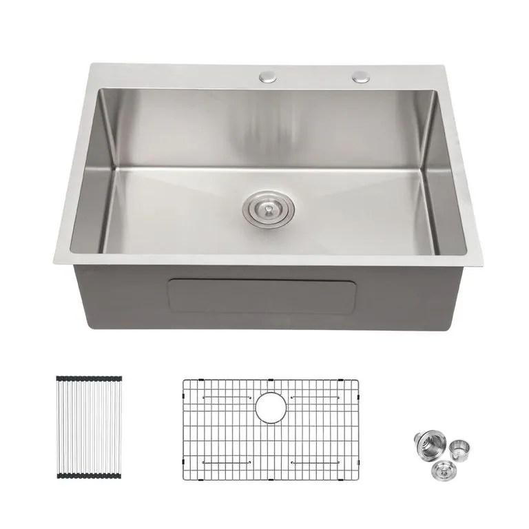 33x22 inch kitchen sink drop in 16 gauge stainless steel single bowl topmount kitchen sink basin