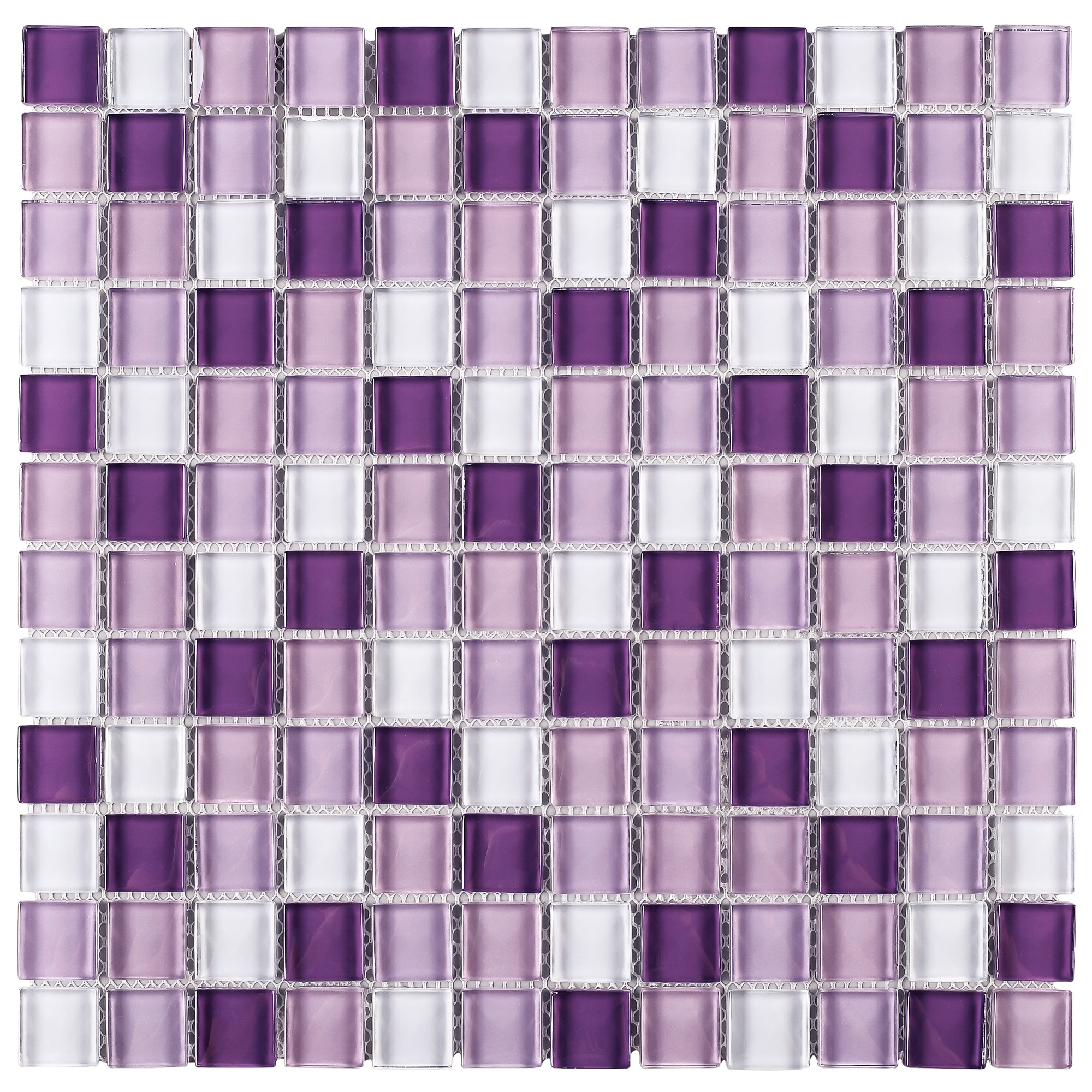 tilegen grid 1 x 1 glass mosaic tile in mix purple wall tile 10 sheets 9 6sqft