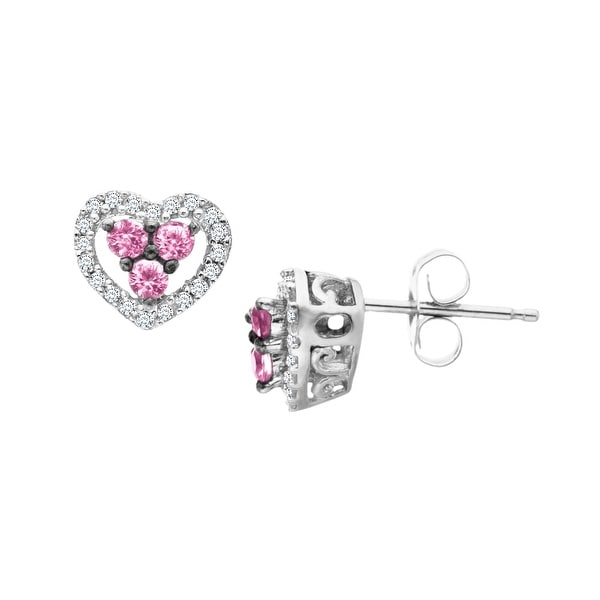 Shop Natural Pink Sapphire and 1/10 ct Diamond Heart Stud