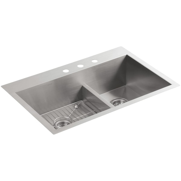 3 basin kitchen sink rustic pendant lights shop kohler k 3839 vault 33 double top mount under 18