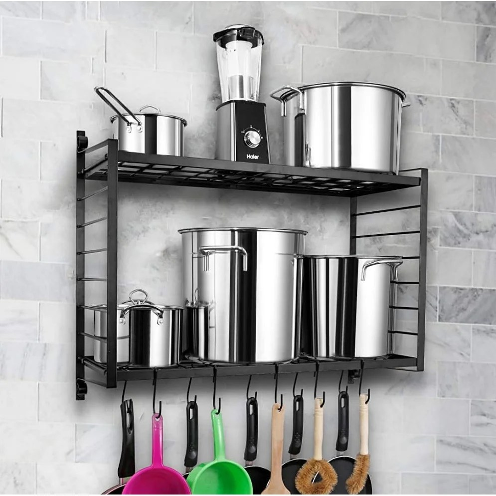 2 tiered wall mounted pot rack hanging rack for kitchen storage and organization