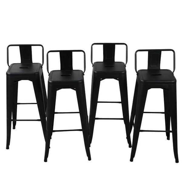 counter height chairs with back barrel club shop belleze 24 inch low indoor outdoor chair stools black silver free shipping today overstock com 21869399