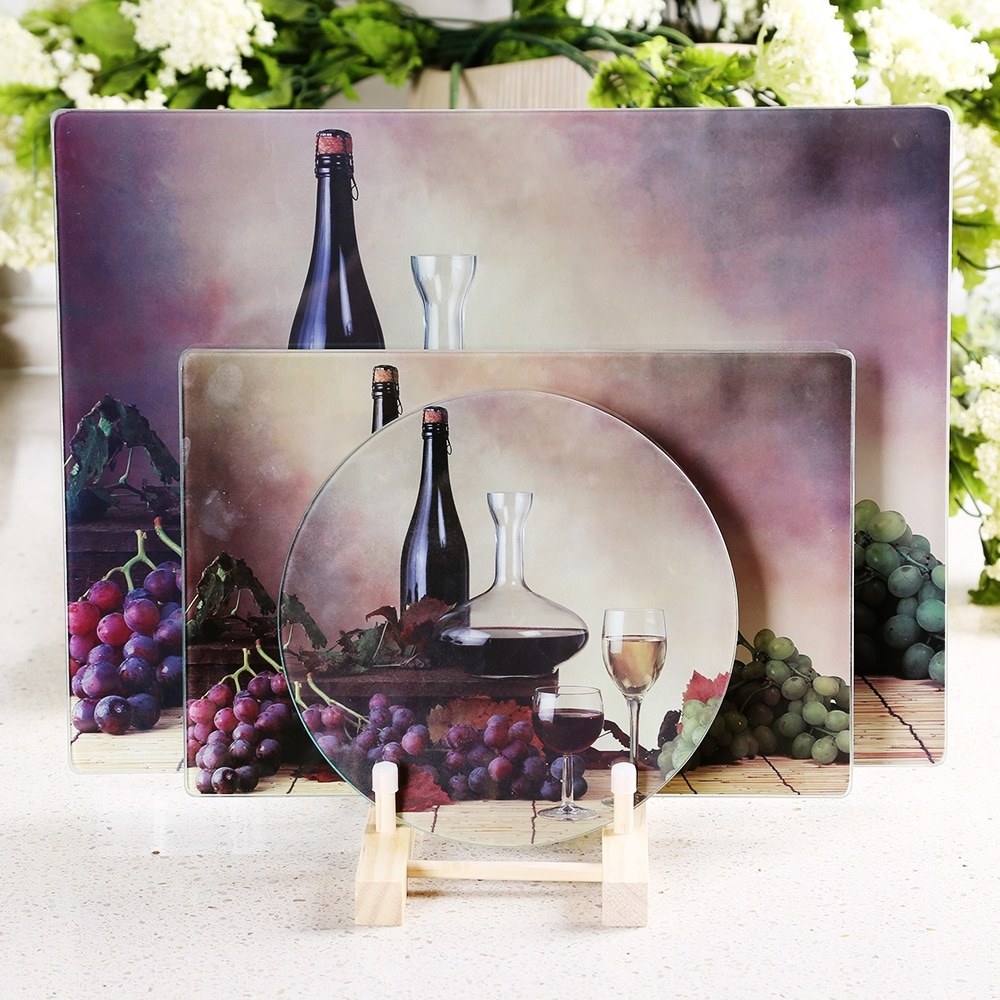 Shop Multi Functional Tempered Glass Cutting Chopping Board Kitchen Surface Chef Board 8 X 12 20x30cm Red Wine Overstock 28629827