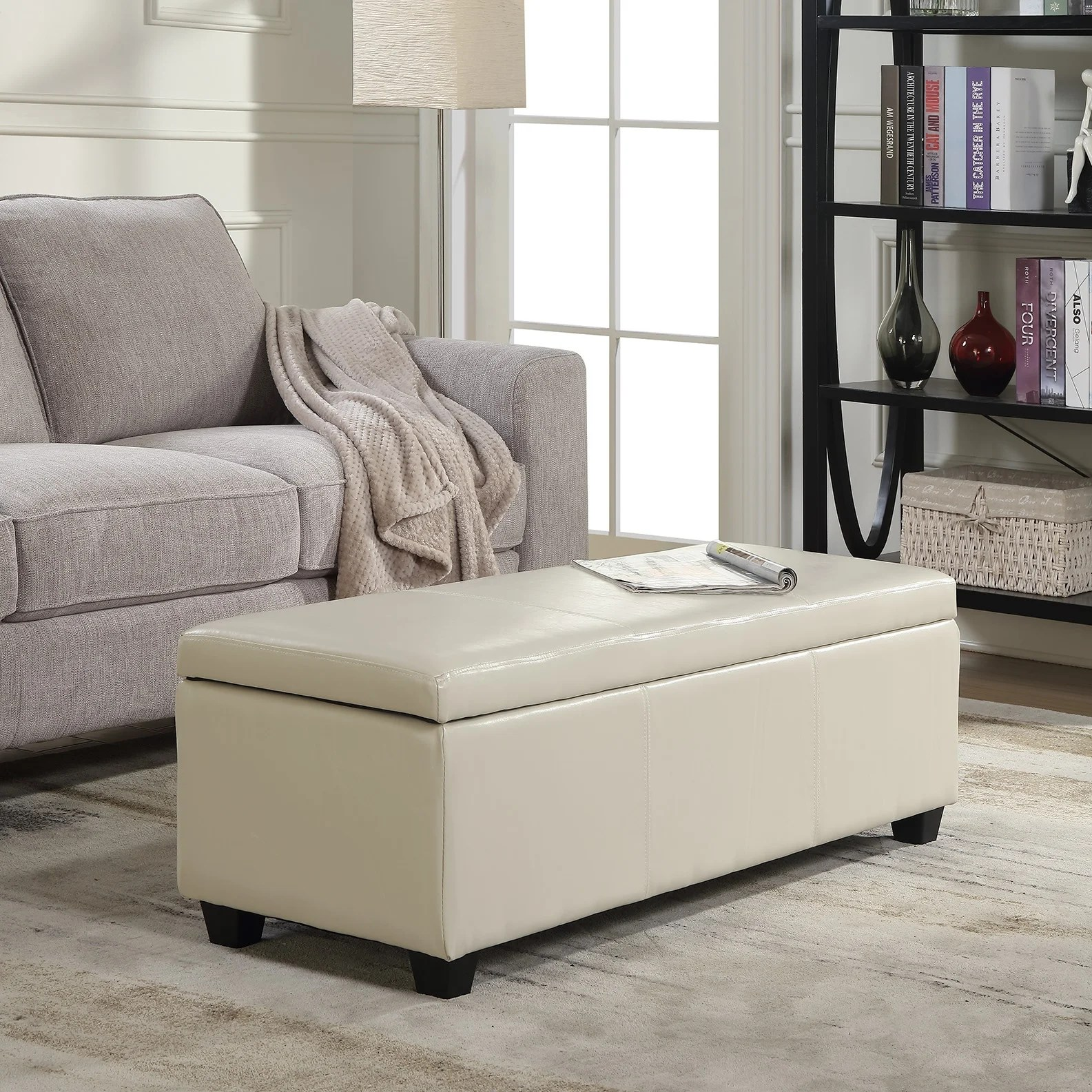 belleze ottoman storage bench room home faux leather 48 inch cream standard