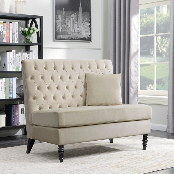 Shop Belleze Modern Loveseat Bench Sofa Tufted Settee High