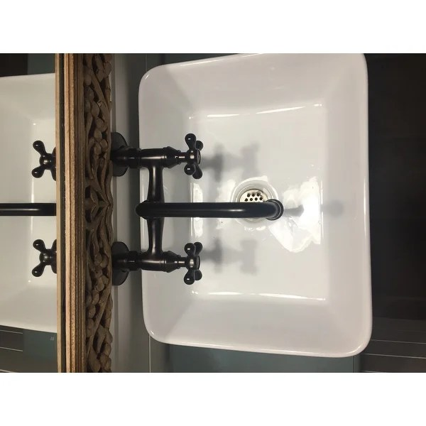 oil rubbed bronze kitchen sink settee shop wall mount two handle faucet free shipping today overstock com 2543472