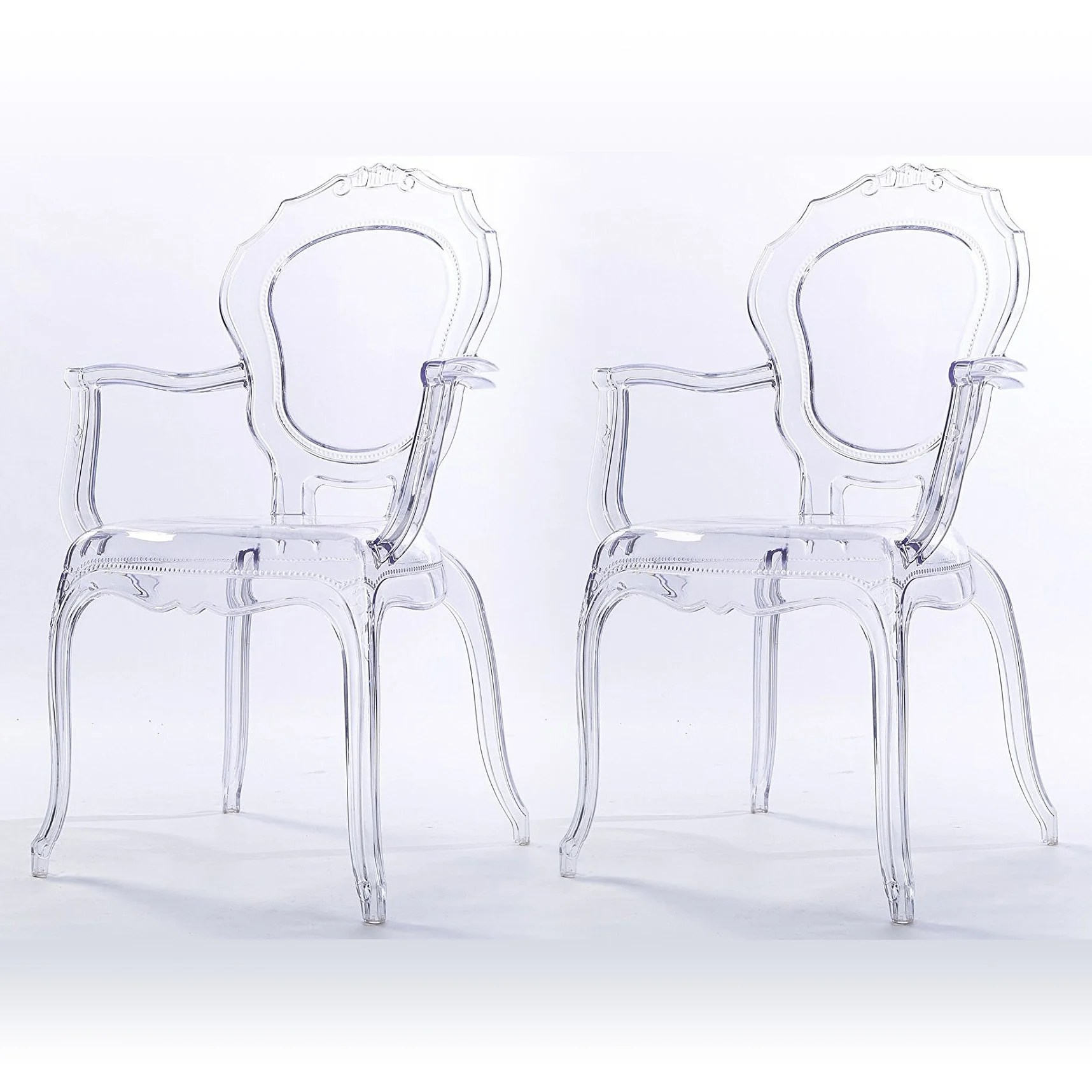 Plastic Clear Chair 2xhome Set Of 2 Clear Modern Belle Transparent Chair Armchair With Arm Stackable Plastic Clear