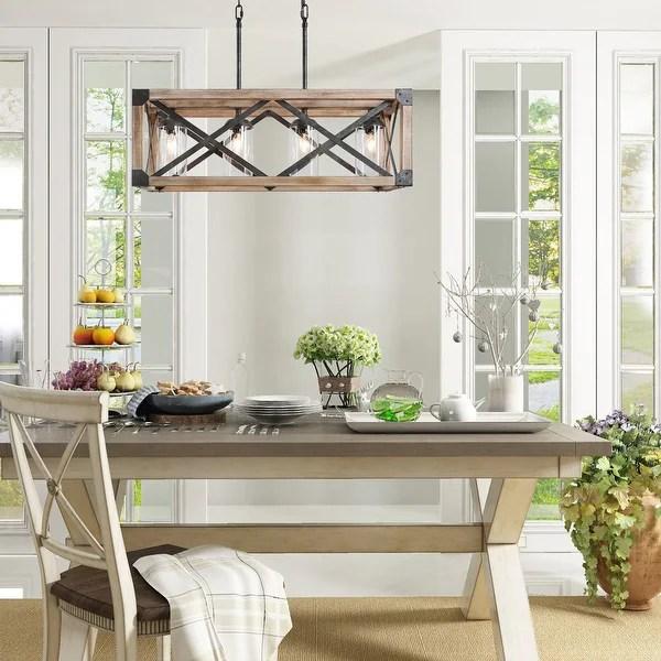 farmhouse linear wood chandelier island