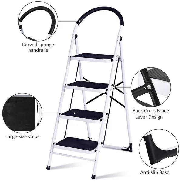 Shop Costway 4 Step Ladder Folding Stool Heavy Duty 330lbs Capacity Overstock 16088547
