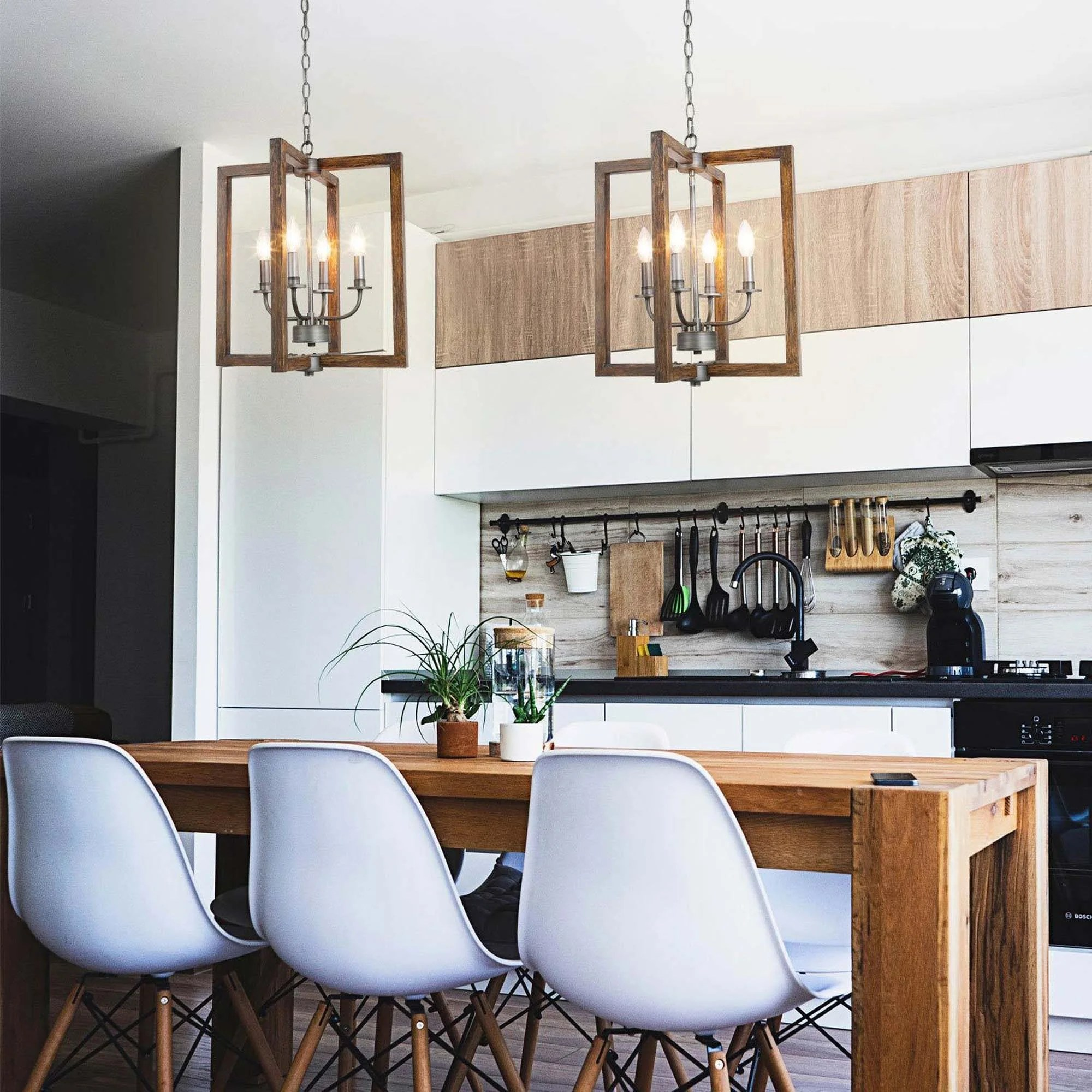modern farmhouse 4 lights faux wood pendant lighting fixture for kitchen island dining room w16 5 xh20