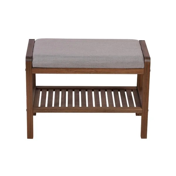 solid bamboo padded bench on sale