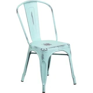 stackable chairs for less best swing chair baby green patio dining overstock brimmes distressed blue metal bar restaurant