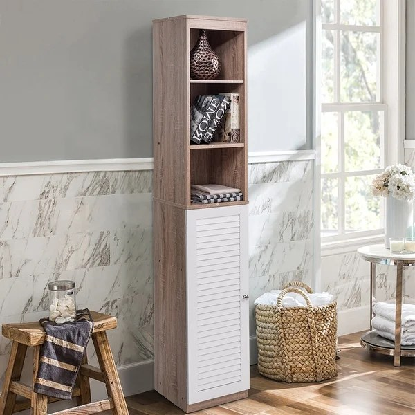 costway 71'' tall wood tower bathroom shelf organizer storage