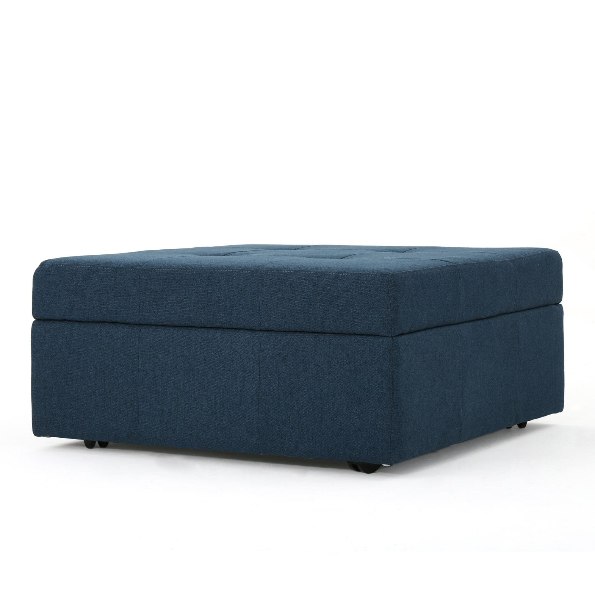 31 black and navy blue upholstered square storage ottoman
