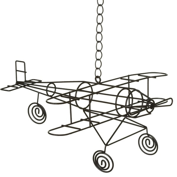 Shop Set of 2 Metallic Black Decorative Airplane Themed