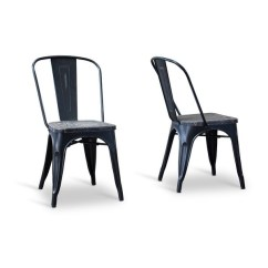 Industrial Bistro Chairs Slipcovered Dining Shop French Chair In Antique Black 2pcs Free Shipping Today Overstock Com 14781512