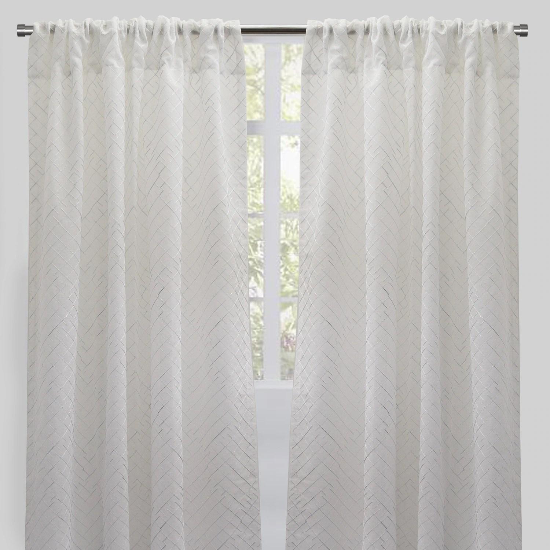 rodeo home lasky rod pocket metallic sheer curtain panels set of 2 54 x 96 54 x 96