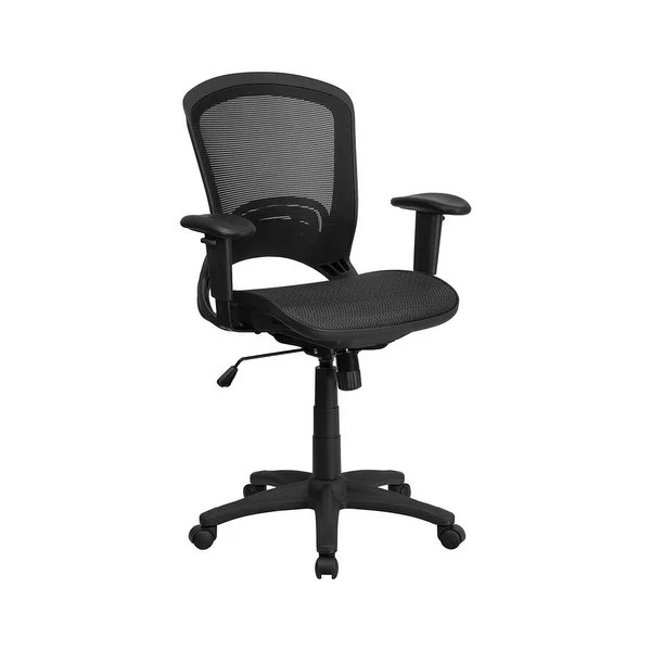 office chair with adjustable arms swivel leg caps shop offex mid back black mesh executive height free shipping today overstock com 16690431