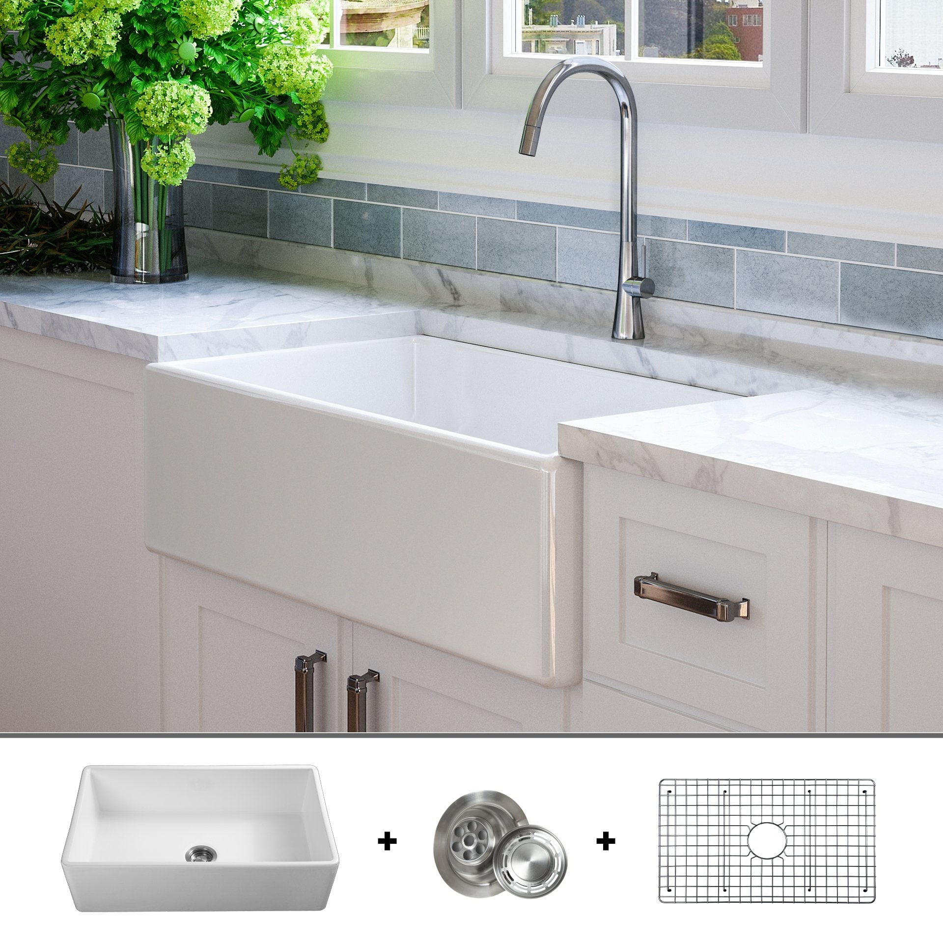 luxury 33 inch modern fireclay farmhouse kitchen sink single bowl white flat front includes drain grid by fossil blu
