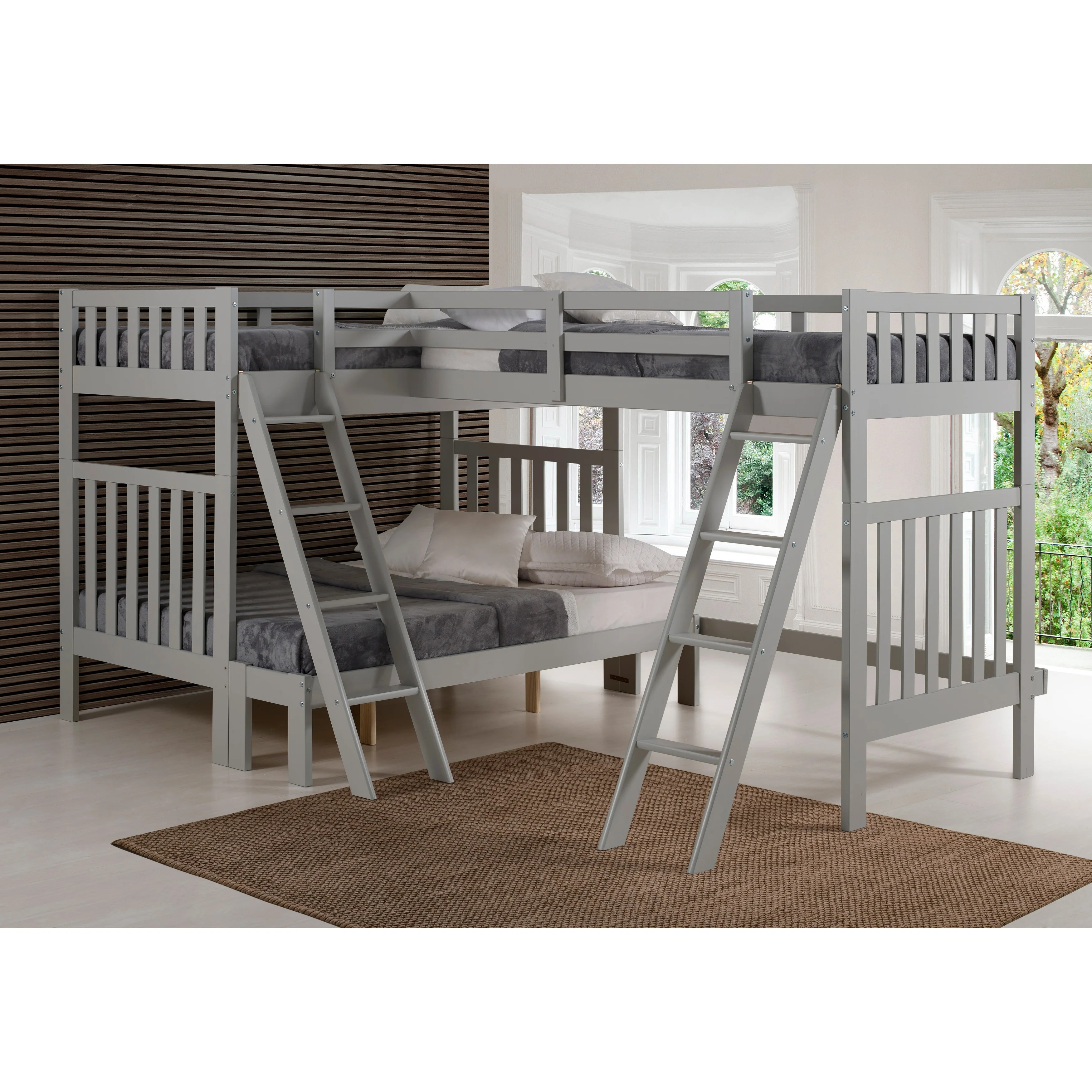 Aurora Solid Wood Twin Over Full Bunk Bed With Tri Bunk Extension Overstock 22406188