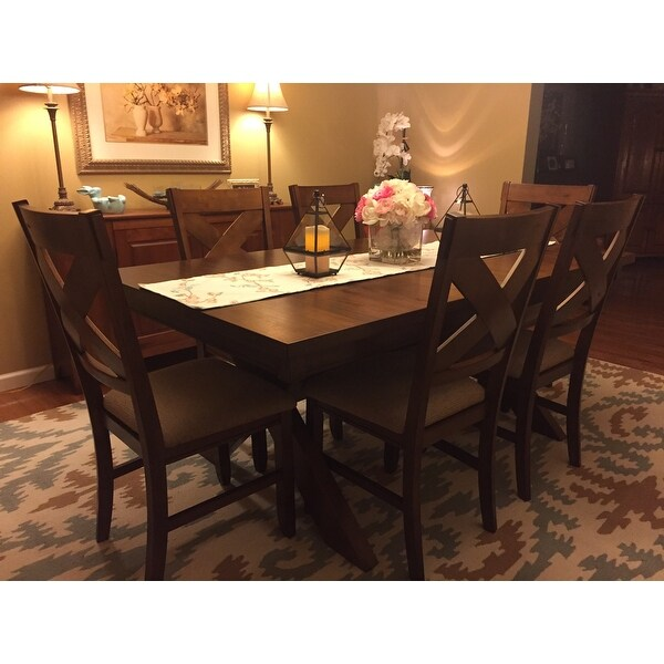 solid oak dining table and chairs unusual chair ideas shop 9 piece wood set with 8 free shipping today overstock com 11691458