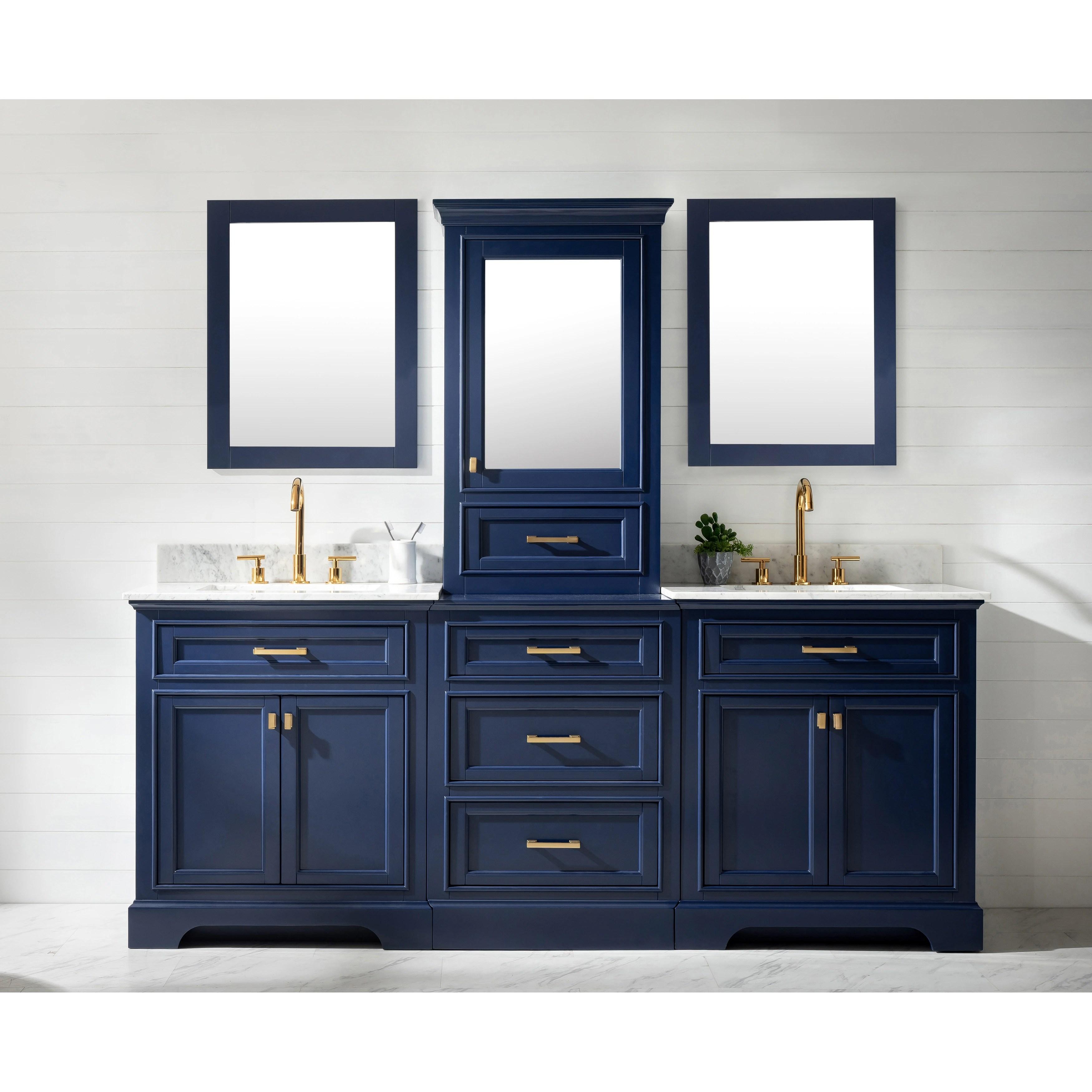 milano 84 double sink bathroom vanity modular set in blue