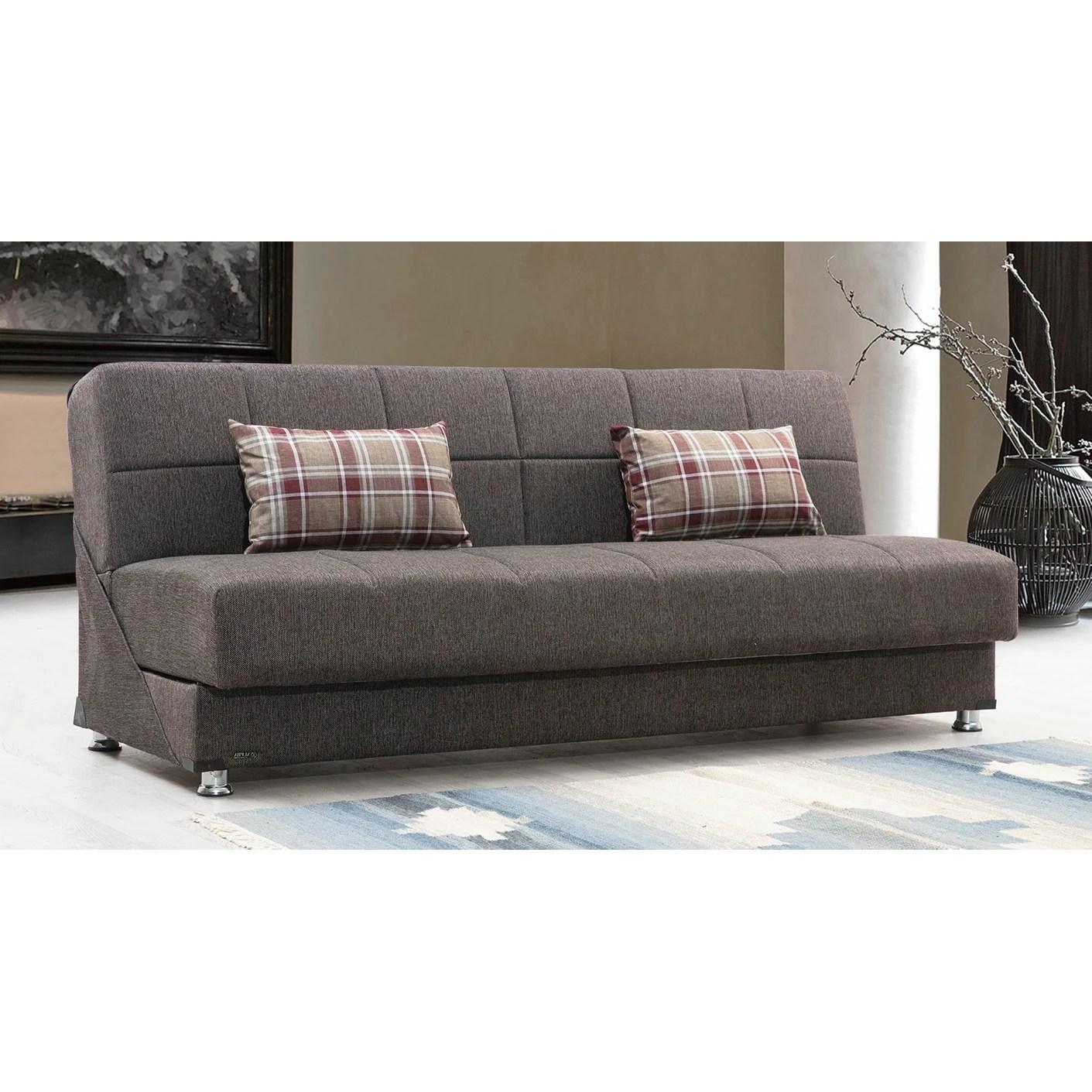 oxnard brown fabric armless convertible sleeper sofa with storage