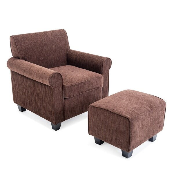 chairs and ottomans upholstered lounge chair for living room shop belleze audrey accented retro style ottoman wood legs dorm poly fiber foam